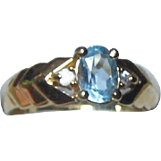 Imitation Blue Topaz Ring in Gold-tone Setting - Size 7.5 - 8