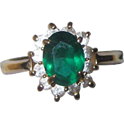 Imitation Emerald Ring in Gold-tone Setting - Size 8