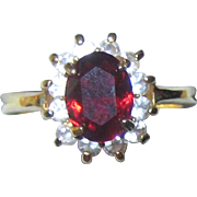 Imitation Ruby Ring in Gold-tone Setting - Size 8