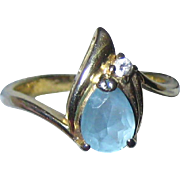 Imitation Pear Shaped Blue Topaz or Aquamarine Ring in Gold-tone Setting - Size 8