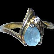 Imitation Pear Shaped Blue Topaz or Aquamarine Ring in Gold-tone Setting - Size 8