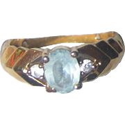 Imitation Blue Topaz or Aquamarine Ring in Gold-tone Setting - Size 7.5 - 8