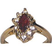 Imitation Ruby Ring in Gold-tone Setting with Imitation Diamonds - Size 8