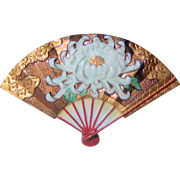 Toshikane Japan Porcelain Ceramic Fan Pin with Chrysanthemum