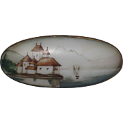 Hand Painted Porcelain Brooch - Chillon Castle