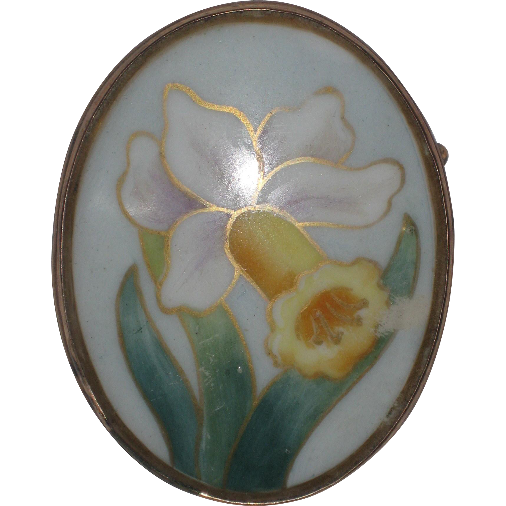 Large Hand Painted Porcelain Daffodil Pin in 18K Gold Plated Bezel - Circa 1925