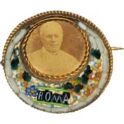 Micro-mosaic Roma Souvenir Pin with Picture of Pope Pius X