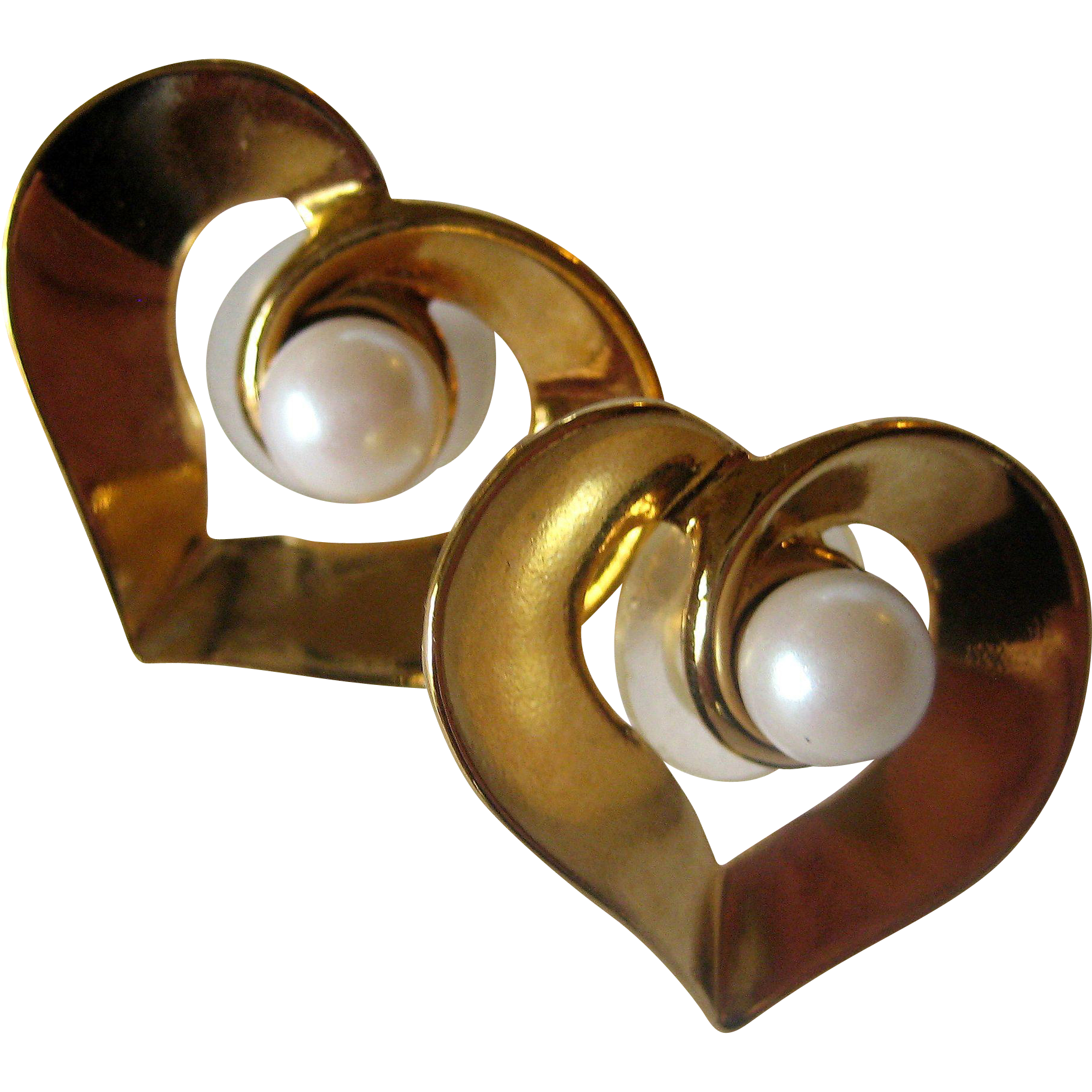 Imitation Pearl Post Earrings with Gold-tone Heart Shaped Jackets
