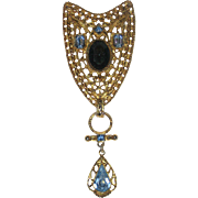 "Large ""Victorian Revival"" Crest Pin with Blue Glass Stones"
