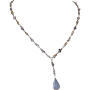 Lilac Glass and Amethyst Chip Necklace with Silver-tone Chain