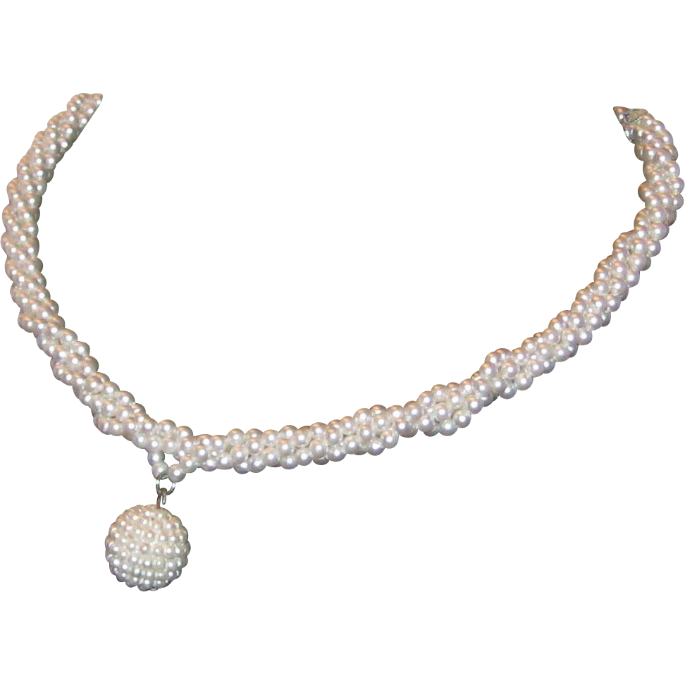 Imitation Twisted Pearl Choker Necklace - Midcentury