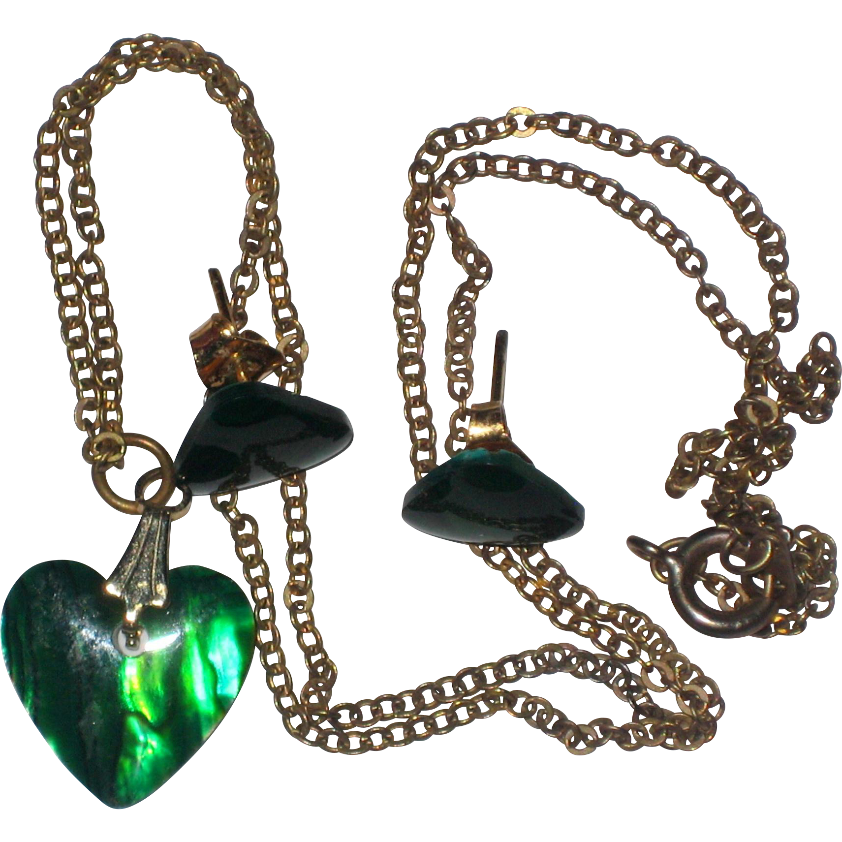 """Ocean Emerald"" Green Dyed Shell Heart Necklace and Earrings in Original Box"