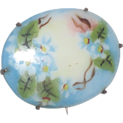 Victorian Hand Painted Porcelain Pin with Blue Forget-me-Nots