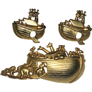 Noah's Ark Gold-tone Pin and Pierced Earrings by AJC