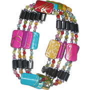 "Confetti Colored Magnetic Hematite Wrap Bracelet - 36"""