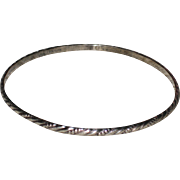 Sterling Silver Bangle Bracelet with Rope and Beading Design