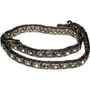 Sterling Art Deco Diamonbar Flexible Bracelet with Brilliants