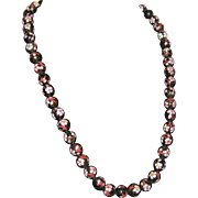 "27"" Black Cloisonne Necklace with Pink Flowers and Enameled Class"