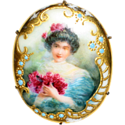 Large Hand Painted Porcelain Victorian Portrait Brooch - Pretty Lady with Roses