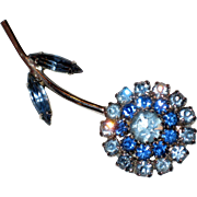 Flower Pin with Prong Set Blue Rhinestones - Circa 1950