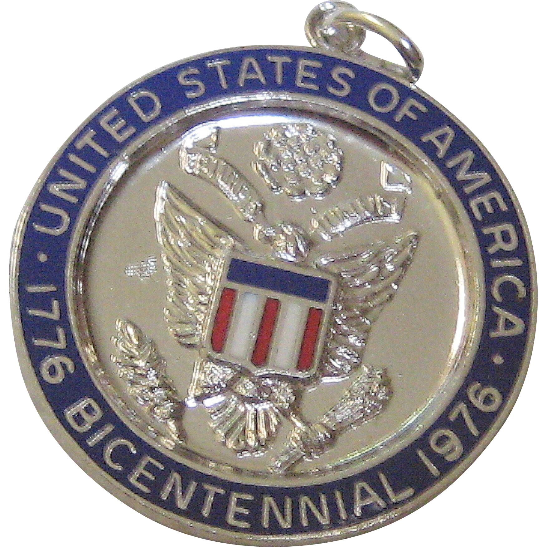 Large Sterling Silver Enameled US Bicentennial Charm or Medal