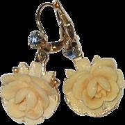 1950's Creamy White Celluloid Earrings