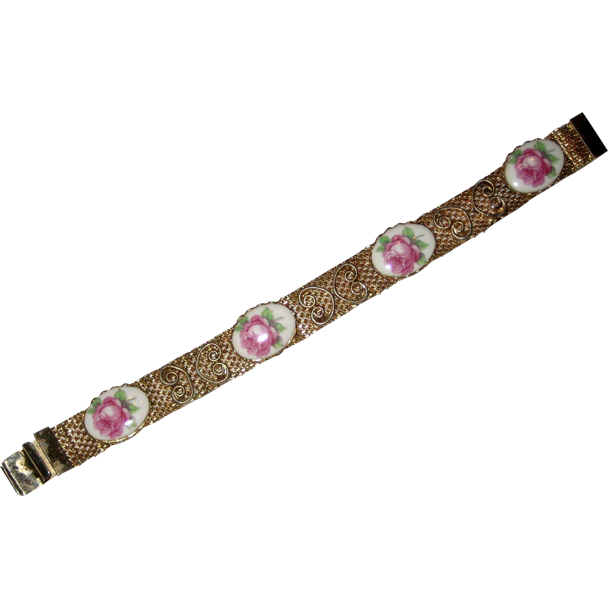 Gold-Tone Mesh Bracelet - Porcelain Plaques with Pink Roses