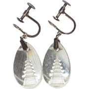 1950's Japan Reverse Carved Crystal Pagoda Earrings - Sterling Silver Screw-back