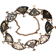 "1950's Amita Japanese Damascene Shakudo Fan Bracelet - 7 3/4"""