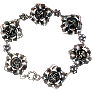 Sterling Silver Bracelet with Dimensional Roses - 1940's