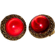 1950's Dark Red Lucite Clip Earrings