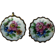 1940's Floral Porcelain Screw-back Earrings