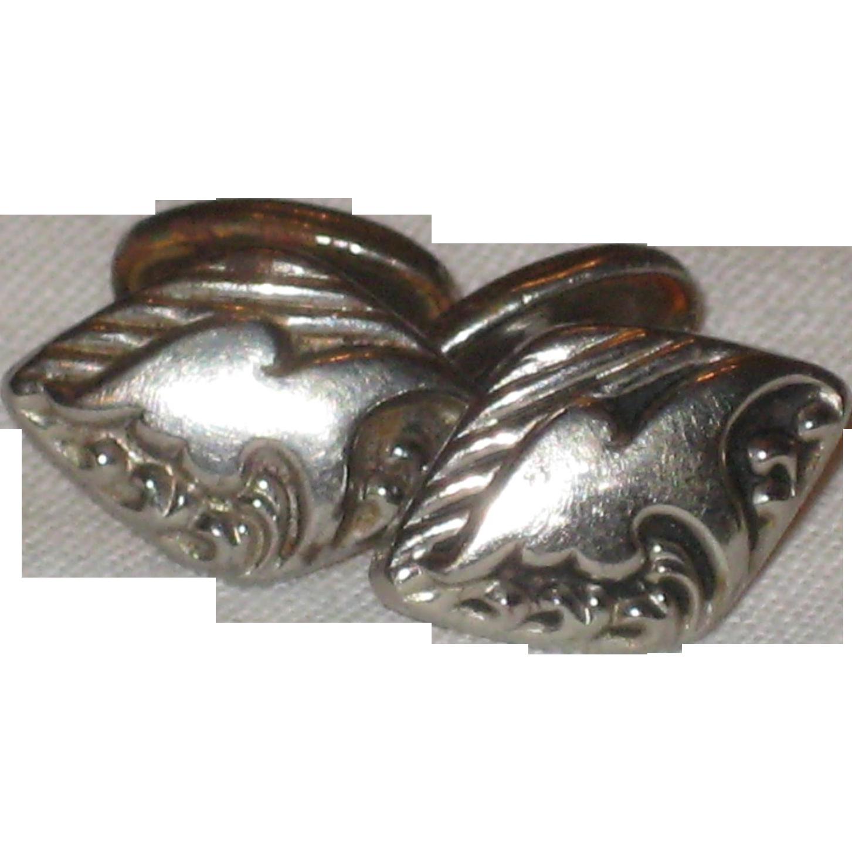 Embossed Silver-tone Cuff Links - Circa 1900