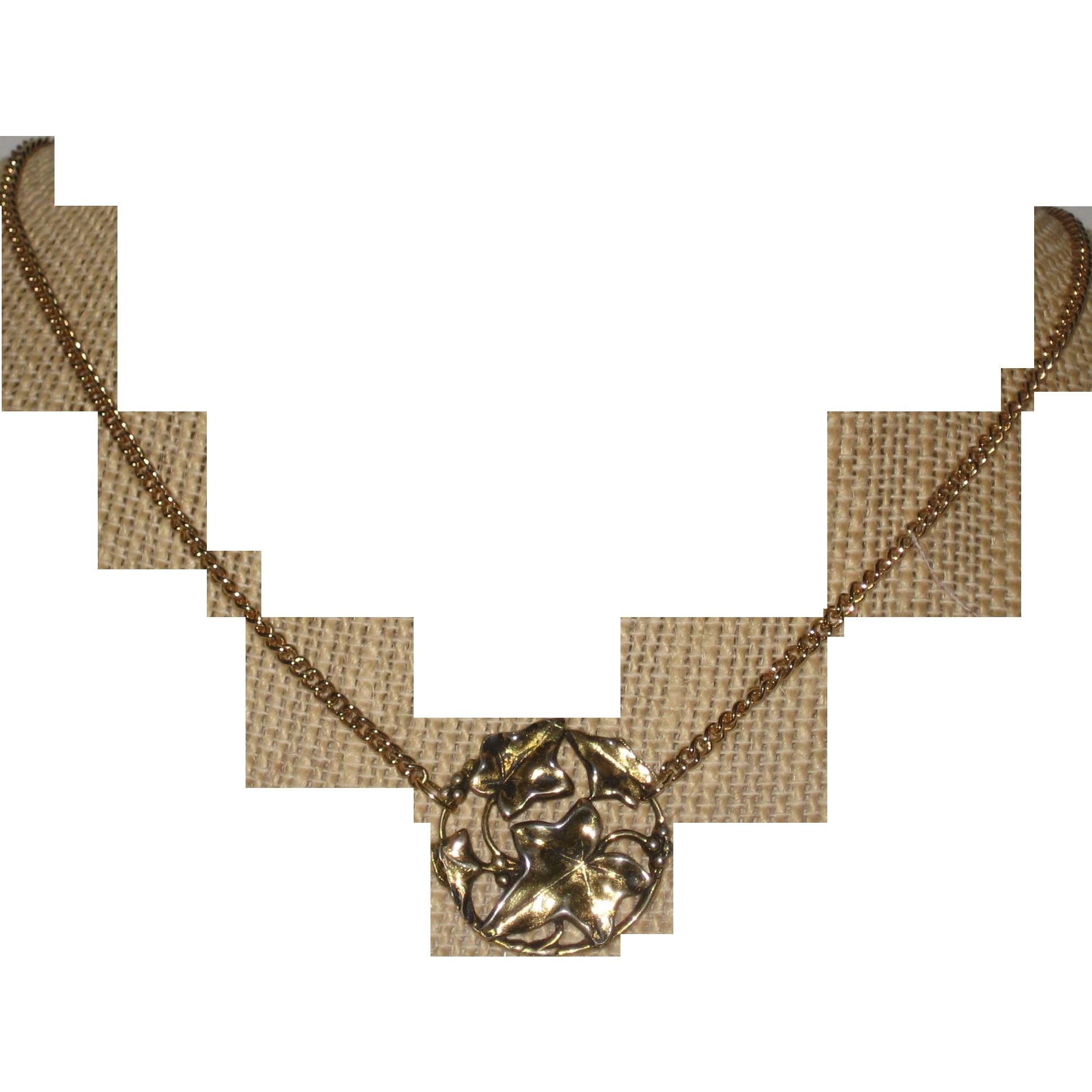 Gold-tone Elven Ivy Leaf Necklace