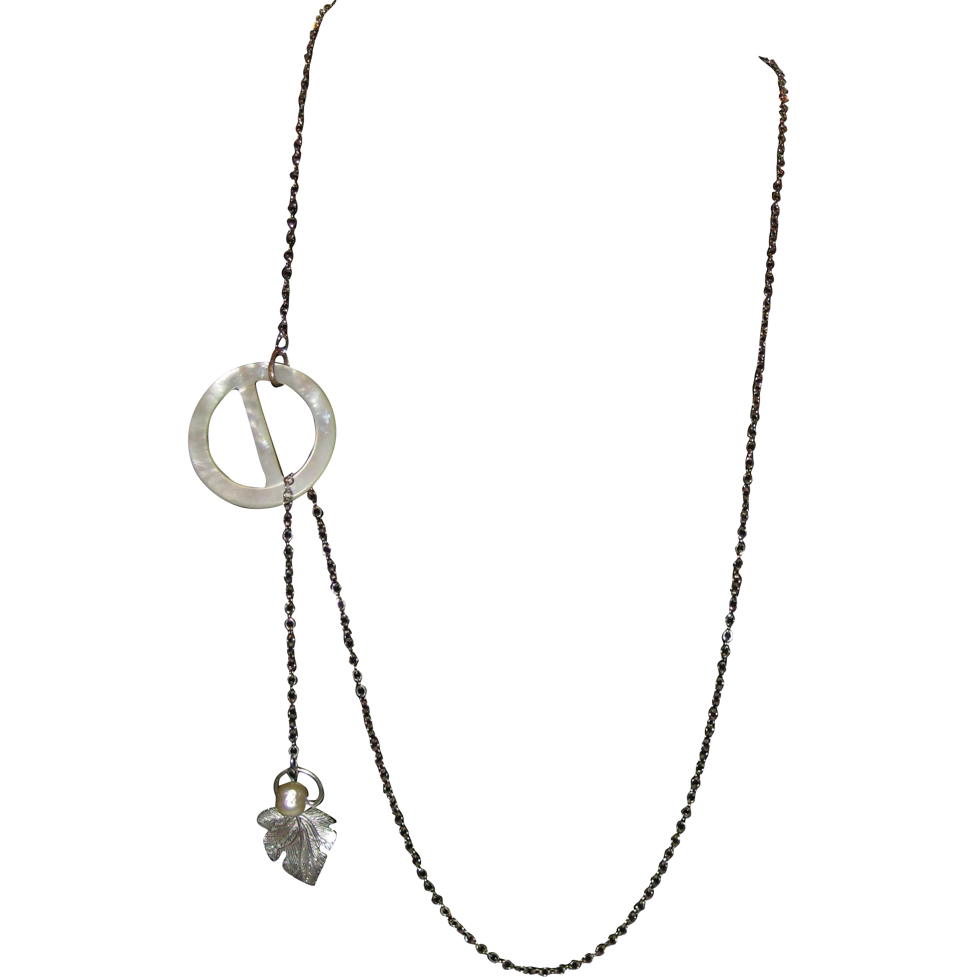 Sansa Stark Mother-of-Pearl Circle Lariat Necklace