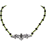 Black and Green Beaded Bat Necklace - 16""