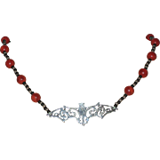 Beaded Bat Necklace in Black, Bronze and Coral Red - 19""