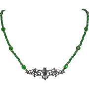 Bat Necklace with Green Glass Beads - 18""