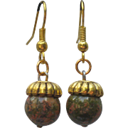 Unakite Jasper Acorn Earrings
