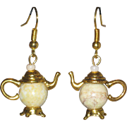 Teapot Earrings with Riverstone Jasper Gemstone Beads