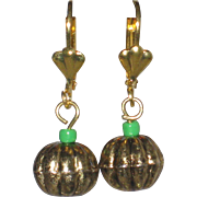 Gold-Tone Pumpkin Earrings