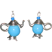 Aqua Blue Teapot Earrings
