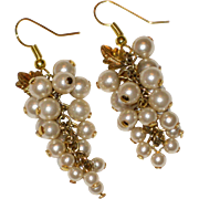 1960's Grape Earrings with Imitation Pearls and Tiny Gold-tone Leaves
