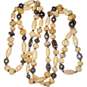"46"" Ethnic Necklace - Carved Bone Beads, Palm Seeds and Silver-tone Beads"