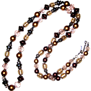 1970's Liz Claiborne Beaded Flapper Necklace - 32""
