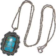 1940's Natural Turquoise Pendant with Sterling Setting and Chain