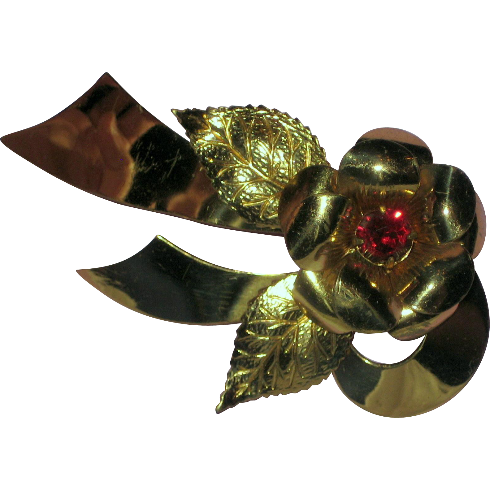 1940's Signed Coro Rose and Ribbon Pin with Red Rhinestone