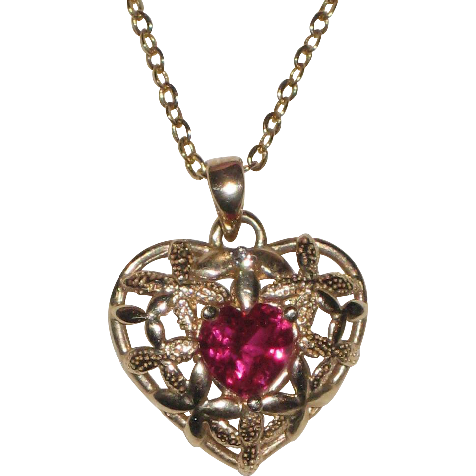 "10K Ruby Heart Pendant with 18"" Chain - Flowers"