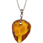 "Citrine Nugget Pendant Necklace with Sterling Silver Bale and 18"" Chain"