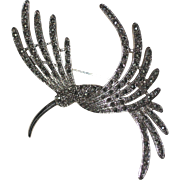 "Vintage ""1928"" Silver-tone Marcasite Hummingbird Pin"